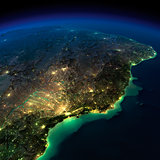 Night Earth. A piece of South America - Brazil