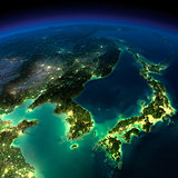 Night Earth. A piece of Asia -  Korea, Japan, China