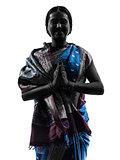 indian woman saluting praying silhouette