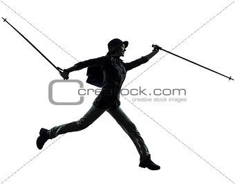 woman trekker trekking running silhouette