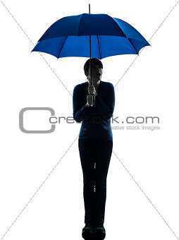 anxious woman holding umbrella silhouette