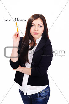 Portrait of  young Student with pencil