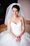 Gorgeous bride smiles