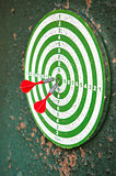 Dart board with darts on shabby green background
