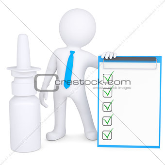 3d white man near the nasal spray