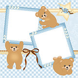 Baby boy photo frame with teddy bear