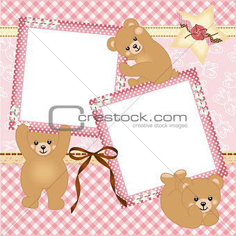 Baby girl photo frame with teddy bear
