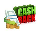 cash back money sign illustration design