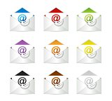 set of envelopes with email symbol