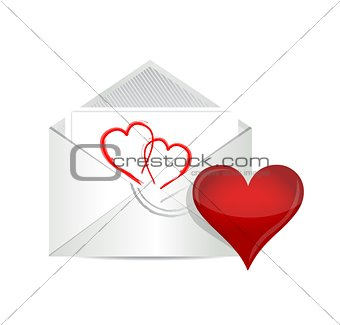 Open envelope with valentine heart