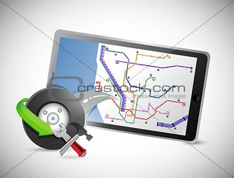 car wheel and gps tablet