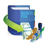 business plan book, money and graph illustration