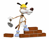 The dog on building lays a brick.