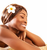African woman in spa salon