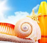 Beach items over blue sky