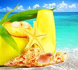 Beach items over blue sea