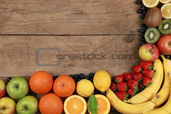 Fruits on a wooden board