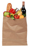 Groceries including fruits, vegetables and a wine bottle