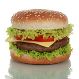 Cheeseburger, isolated on a white background