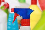 Plastic detergent bottles, cleaning products