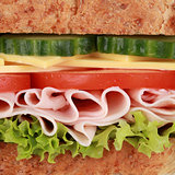Macro shot of a sandwich with ham