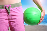 beach volleyball player with ball