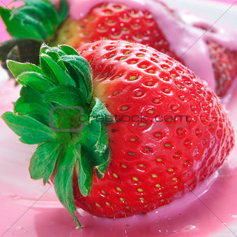 strawberries in strawberry yoghurt