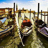 gondolas in Venice, Italy