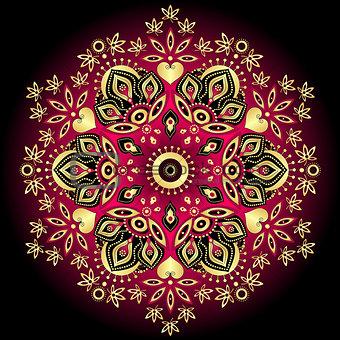 Gold-purple round pattern