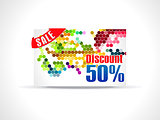 abstract fifty percent discount card template