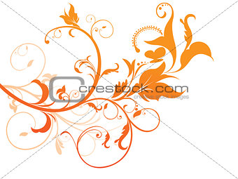 abstract orange based floral