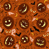 Scary Pumpkins Seamless Pattern