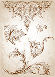 Vintage Victorian floral elements 