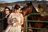 Lesbian Bride with Partner and Horse