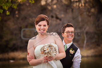Gay Newlyweds Laughing