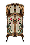 jugendstil wardrobe with flowers