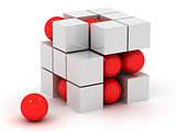 white cube and red sphere
