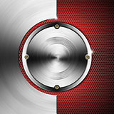 Red and Metal Background with Hexagons and Circles