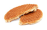 Stroopwafel, Dutch caramel waffle broken in half
