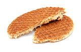 Stroopwafel, Dutch caramel waffle broken in half