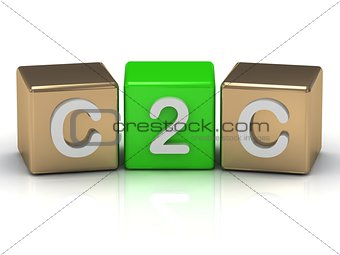 C2C Client to Client symbol on gold and green cubes