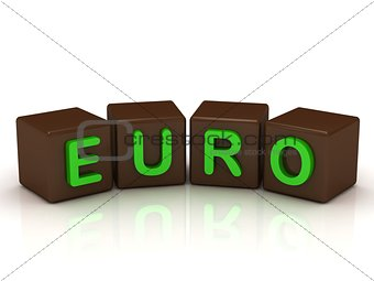 EURO inscription bright green letters