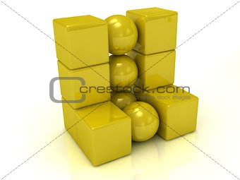 Abstract model of the gold cubes