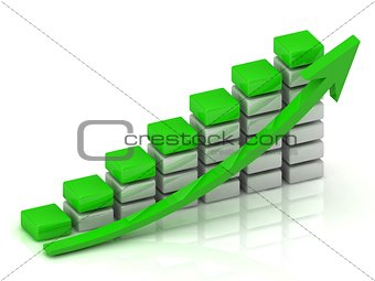 Business graph output growth of white bars