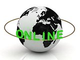 Green Online and ring, abstraction of the inscription around the earth