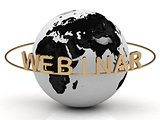 Gold Webinar and ring, abstraction of the inscription around the earth 
