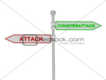 "Signs with red ""ATTACK"" and green ""COUNTERATTACK"""