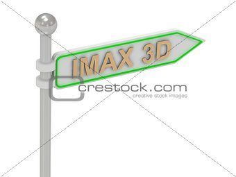 "3d rendering of sign with gold ""IMAX 3D"""