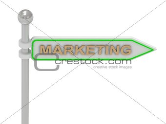 "3d rendering of sign with gold ""MARKETING"""