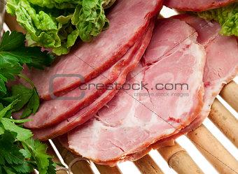 sliced food arrangement of meat